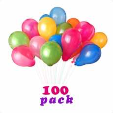 Pack of 100 Birthday Party Baloons - Multicolors
