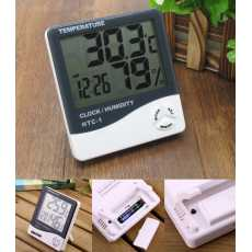 HTC-1 Digital Hygrometer Temperature & Humidity Meter Clock Alarm LCD display