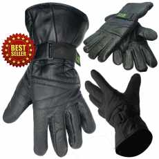 Mens Bike Bicycle Real Leather Gloves Winter Fleece Lined Soft Comfy Cycle...