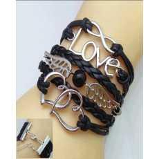Multi-Layered Leather Love Bracelet - Black