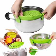 Clip On Plastic Pot Drainer Strainer Colander to Strain and Drain Food Rice...