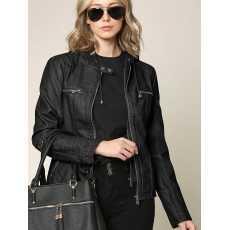 Biker Style Ladies Jacket Faux Leather