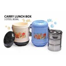Carry Lunch Carrier with (3 Steel Bowls)