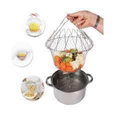 Chef Basket 12 in 1 Kitchen Tool Deluxe Boiler Steamer Strainer & Frying.