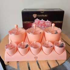 Stylish Pink Spice Jar Set 8Pcs