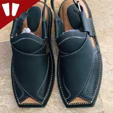Branded Peshawari Chappal - Pure Leather - Handmade Peshawari Sandal - Dark Grey