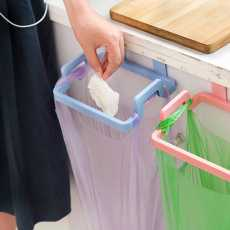Home Towel Hanger Garbage Bag Holder Stand Hanging Plastic Rubbish Pouch Carrier