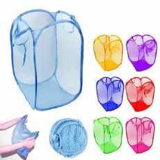 Foldable Laundry Bag Home Cloth Storage Mesh Washing Basket Bin Hamper