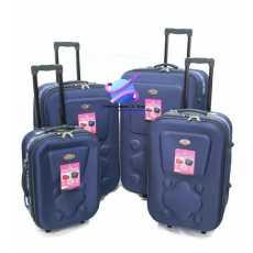 Super Premium Deluxe Set OF 4 Pcs 2 Wheel Soft Trolly Suitcase / BLUE