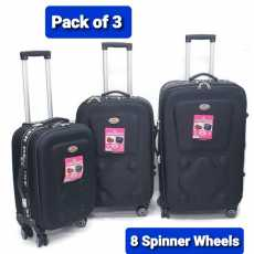 Super Traveler Deluxe Softside Luggage with 8 Spinner Wheels .Pack Of 3...