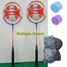 Badminton Rackets Pair Of Racquets with 2 Grips and Net