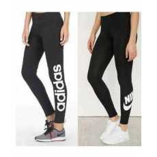 Pack Of -2- High Waist Stretchable Lycra Black Printed Gym Tights For Women