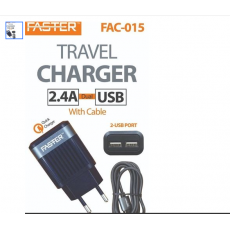 Dual port fast charger with usb type C , 2.1  A  for all android phone