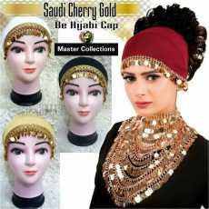 Saudi Cherry Gold Hijab Caps Pack of 3