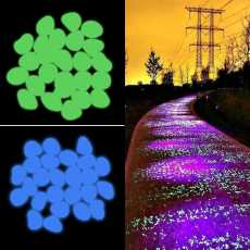 Pack of 10 - Glowing Luminous Pebble Stone Glow In The Dark Home Decoration...