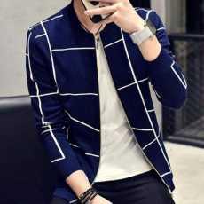 Navy Blue Fleece Mockneck Zipper Jacket