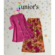 Girls Stylish 2 Piece Suit Plain Shirt & Printed Trouser