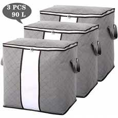 3PCS-Storage Bags Organizers for Comforter, Blanket for Closet and Under bed...