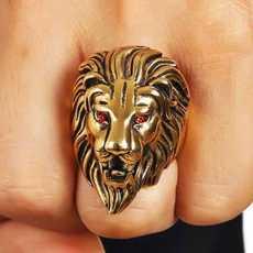 Hyper Hawk Golden Red Eyes Punk Biker Lion Head Ring, Lion King Style...