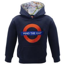 TFL129K Kids Licensed Chain Stitch Embroidery Mind the Gap Hoodie Navy