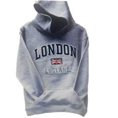 London England Kids Hoodie Hooded Sweatshirt Grey Colour