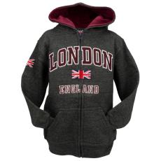 London England Kids Zipped Hoodie Hooded Sweatshirt Charcoal Colour