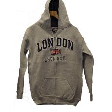 London England Kids Zipped Hoodie Hooded Sweatshirt Grey Colour