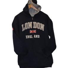 London England Kids Zipped Hoodie Hooded Sweatshirt Navy Colour