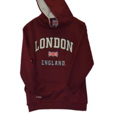 London England Kids Hoodie Hooded Sweatshirt Maroon Colour