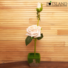 Artificial Flowers With Wooden Pot and Gravels For Home Decoration Plant for...