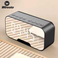 Wiresto Wireless Bluetooth Speaker LED Alarm Clock Portable Mini Speaker