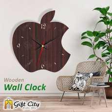 Apple Wooden Wall Clock, 3D Modern Clock, Laser Cut Clock, Wall Clock