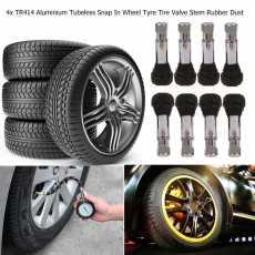 TR414 Chrome Tubeless Rubber Car Wheel Tyre Valve Stem Caps Dustproof Cover