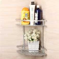 High Quality Double Tier Corner Shelf Triangle Aluminum Shelf in Bathroom
