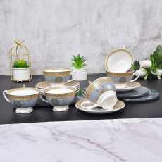 Ceramic Tea Cup Set with Saucer- 12Pcs Tea Cups Set of 6- Beautiful Hermes...