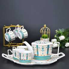 Ceramic Tea Cup Sets with Kettle- 8 Pcs Tea Cups Set of 6 with Tray- Tiffany...