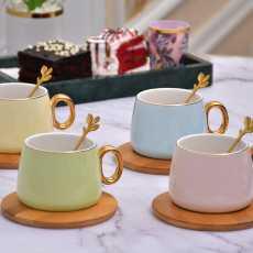 Ceramic Tea Cup Set with Saucer- 12Pcs Tea Cups Set of 6- Unique Wooden Saucer