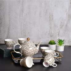 Ceramic Tea Cup Sets with Kettle- 8 Pcs Tea Cups Set of 6 with Glass Tray-...