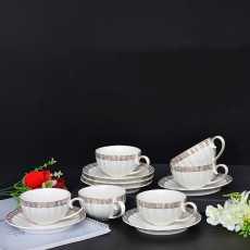 Ceramic Tea Cup Set with Saucer- 12Pcs Tea Cups Set of 6- Elegant Versace Design