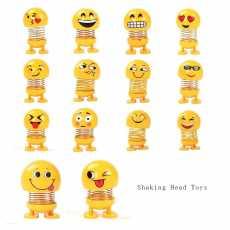 6 pcs Funny Emoji Wobble Head Robot Lovely Car Dashboard Decor Auto