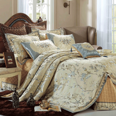 9 Pcs Quilted Wedding Set- King Bedding Set with Pillow Covers - Jacquard...