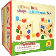 15-Hole Wooden Shape Matching Intelligence Box Shape Sorter Cognitive and...