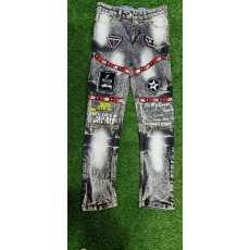 Kid's Broken Hole Embroidered Pencil jeans Trousers Casual Thin Denim Pants...