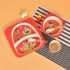 Melamine Dinner Plates for Kids- Bamboo Fiber Kids Plates- 5 pc Plastic...