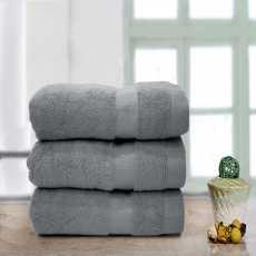 Double Stripe Soft Towel Grey