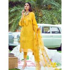 3 Piece Unstitched Embroidered Lawn Suit with Net Dupatta KNE-7015