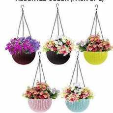 Beautiful Plastic Hanging Planter Flower Pot With Hanging Chain - Random