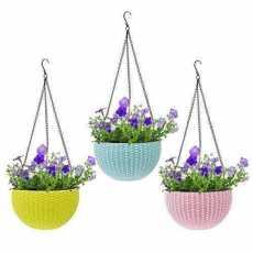 Beautiful Plastic Hanging Planter Flower Pot Hanging Chain Planter- Pink