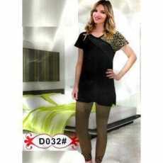 2 / Pcs set Fashionable Net Lace Nightwear For Women Home Wear - Brown & Black