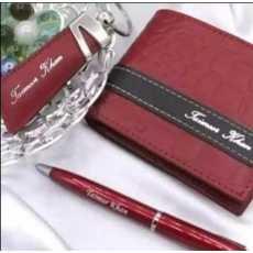 CUSTOMIZED NAME ON WALLET CROCODILE DESIGN , KEY CHAINS & PEN WITH BOX...